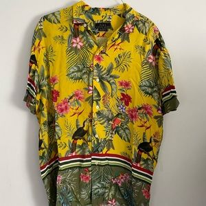 Yellow Zara Floral Button Down Shirt